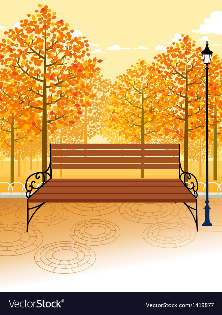 Park bench background vector | Price: 1 Credit (USD $1)