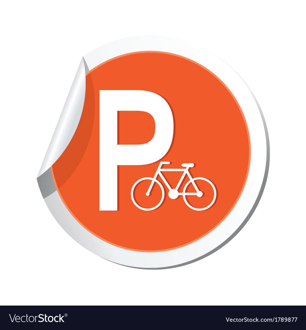 Parking bicycle icon orange sticker vector | Price: 1 Credit (USD $1)