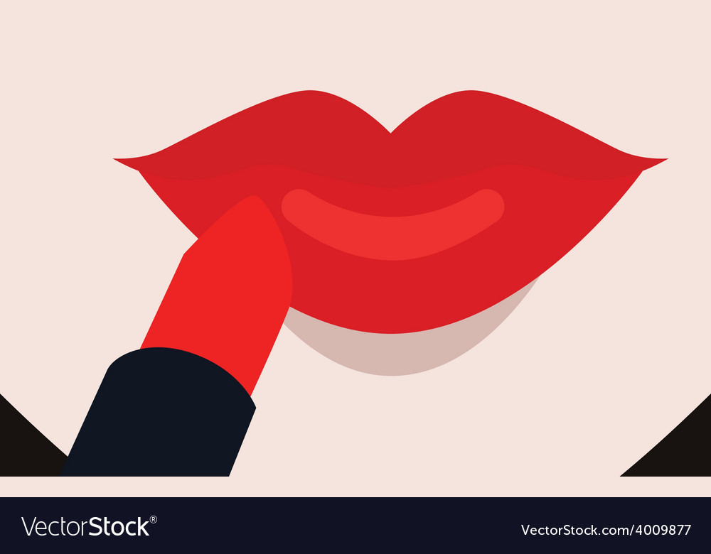 Putting red lipstick on lips vector | Price: 1 Credit (USD $1)