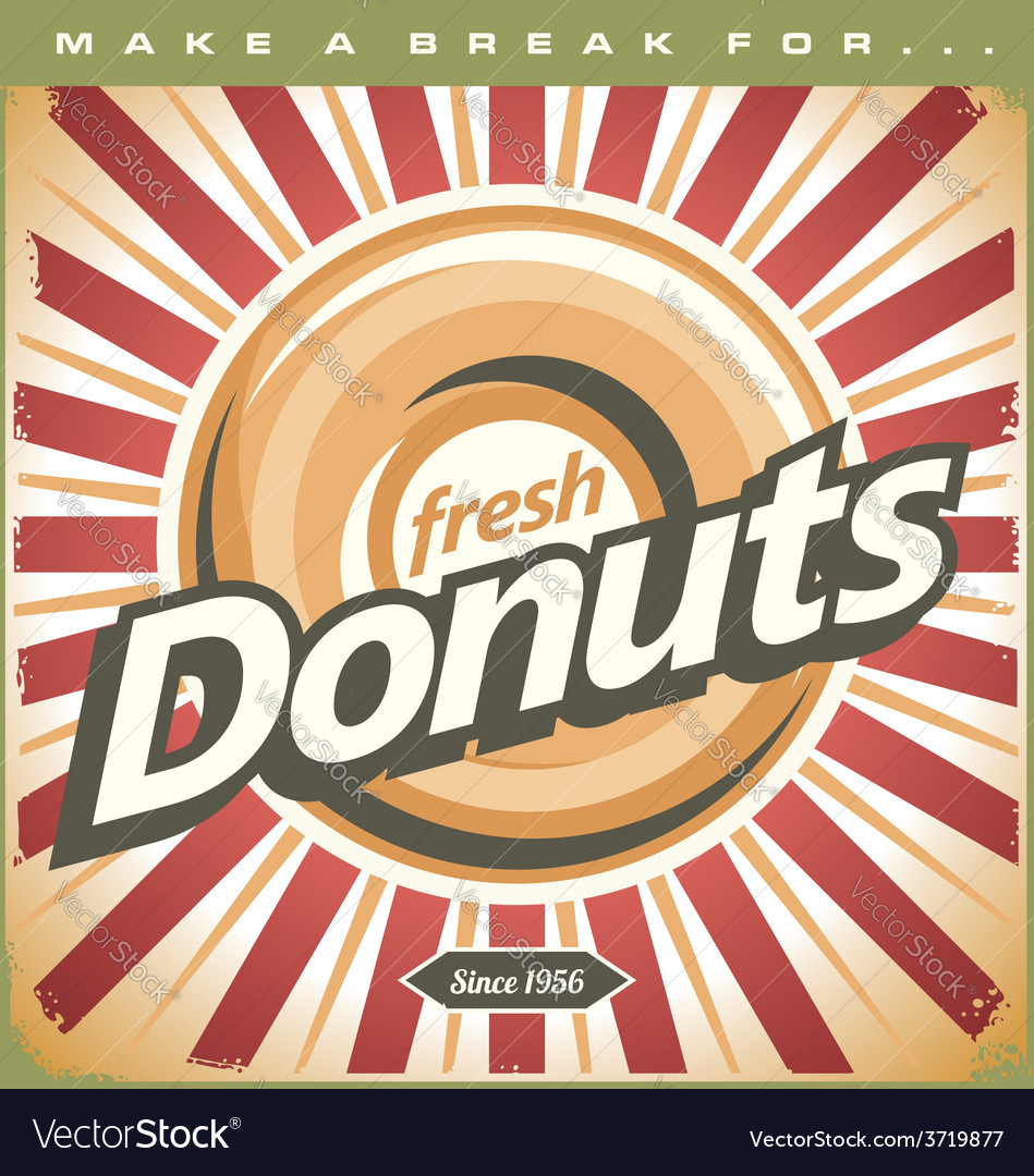 Retro donuts poster vector | Price: 1 Credit (USD $1)