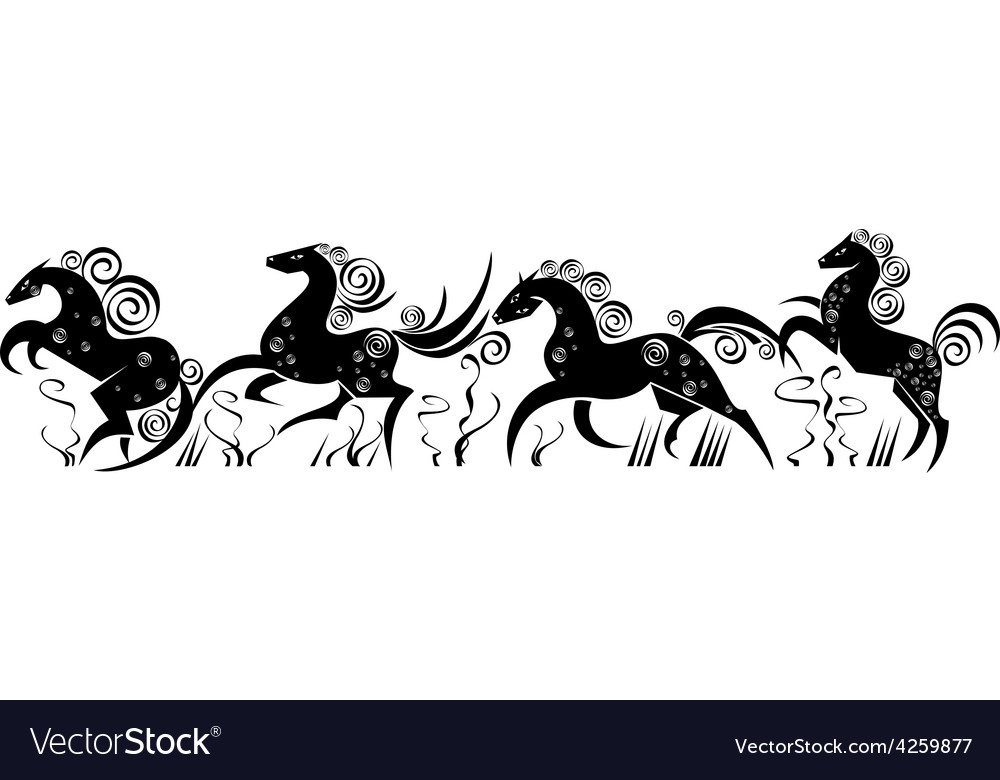 Stylized silhouettes of running horses vector | Price: 1 Credit (USD $1)