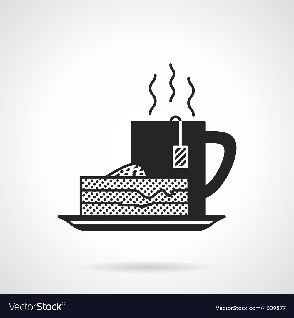 Tea and pie black icon vector | Price: 1 Credit (USD $1)