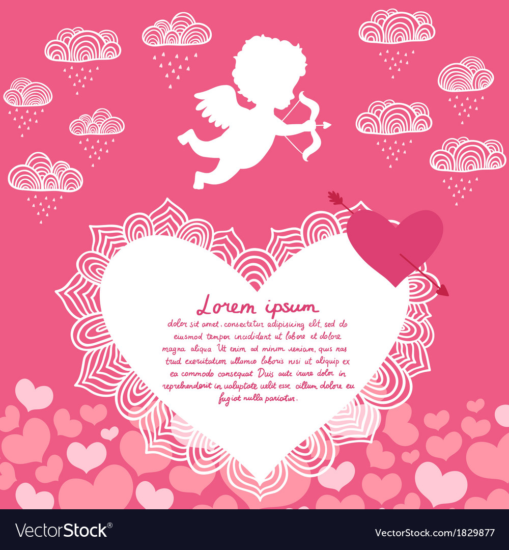 Valentines day angel with bow flyer vector | Price: 1 Credit (USD $1)