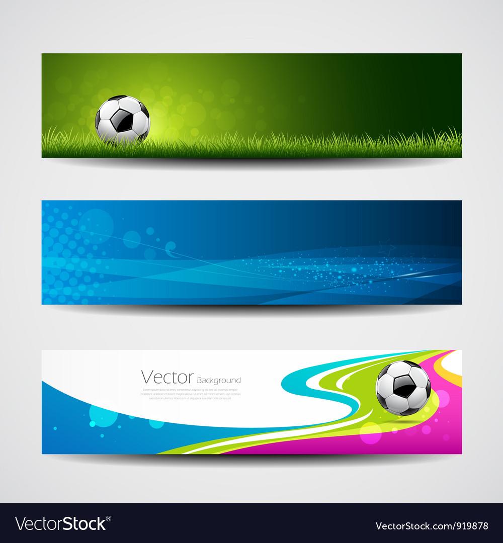 Banner headers soccer ball set design vector