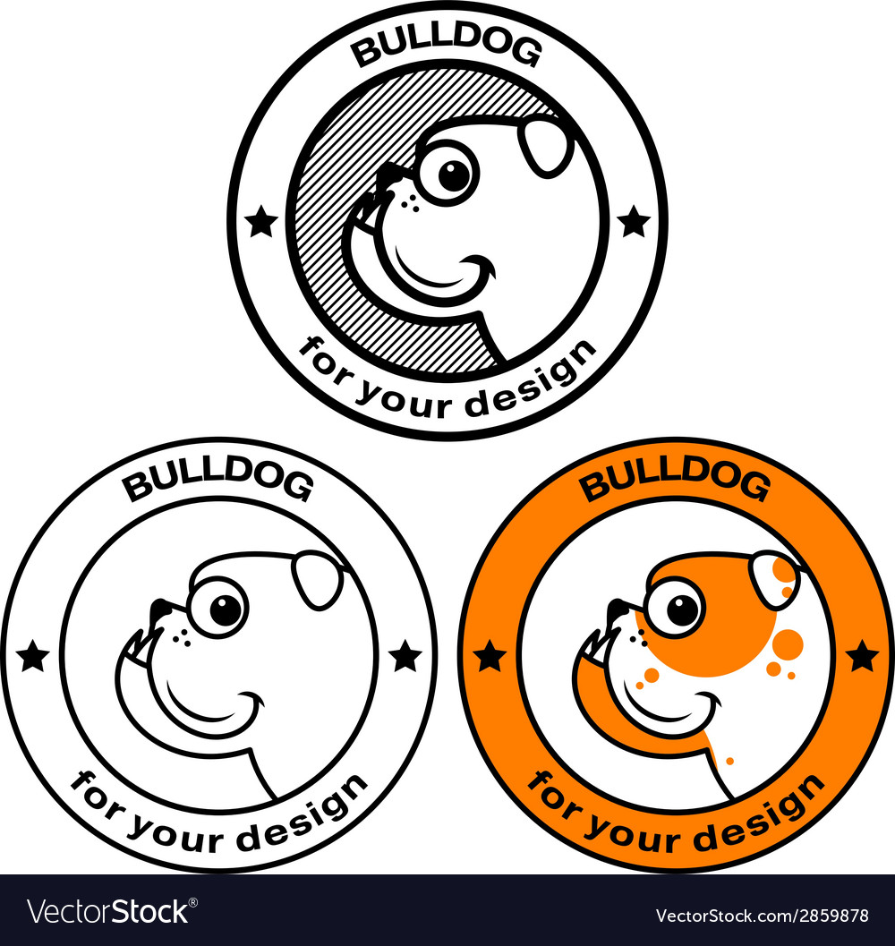 Bulldog head in stamp vector