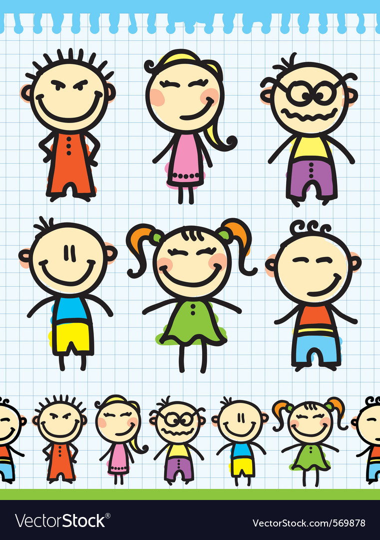 Cartoon doodle kids vector | Price: 1 Credit (USD $1)