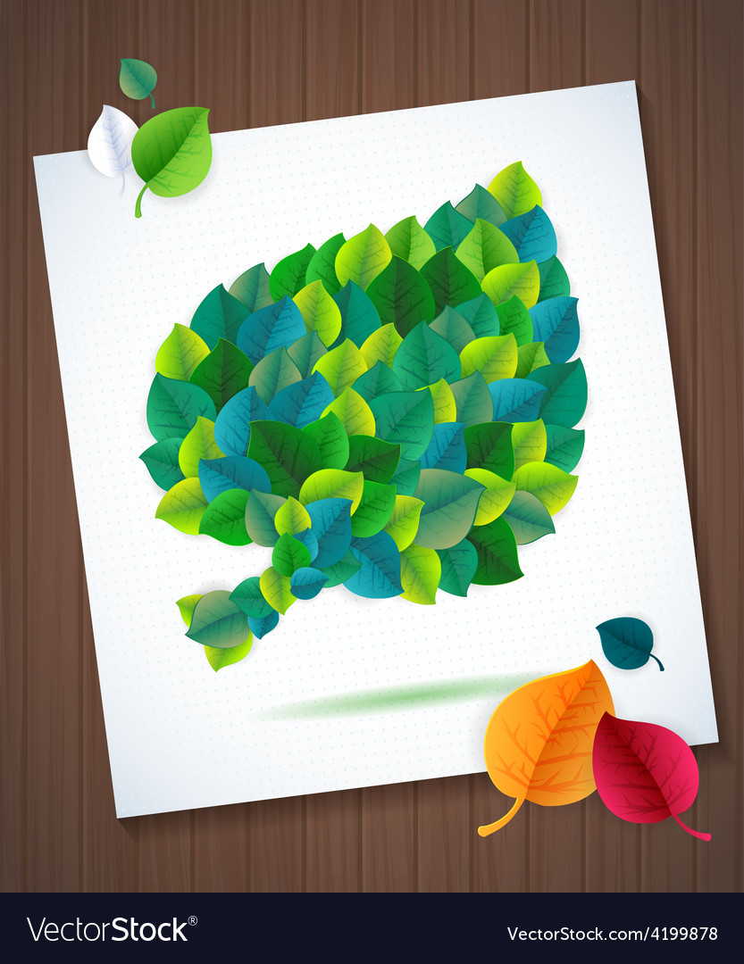 Colorful leaves card concept on super wood vector | Price: 1 Credit (USD $1)