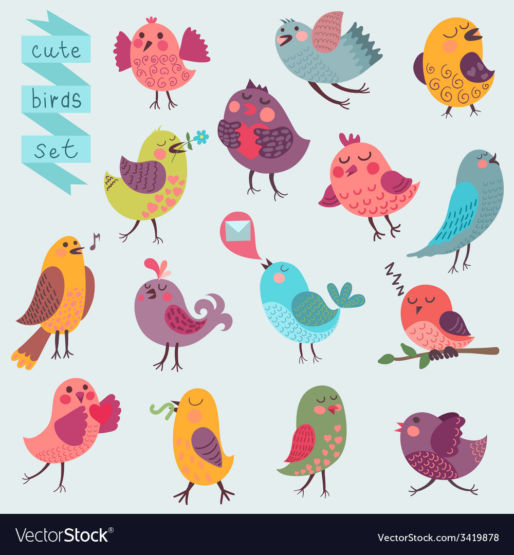 Cute cartoon birds set vector | Price: 1 Credit (USD $1)