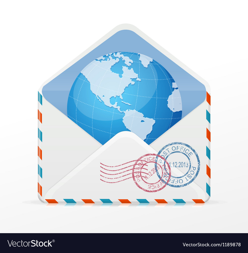 Detailed envelope and globe vector | Price: 1 Credit (USD $1)