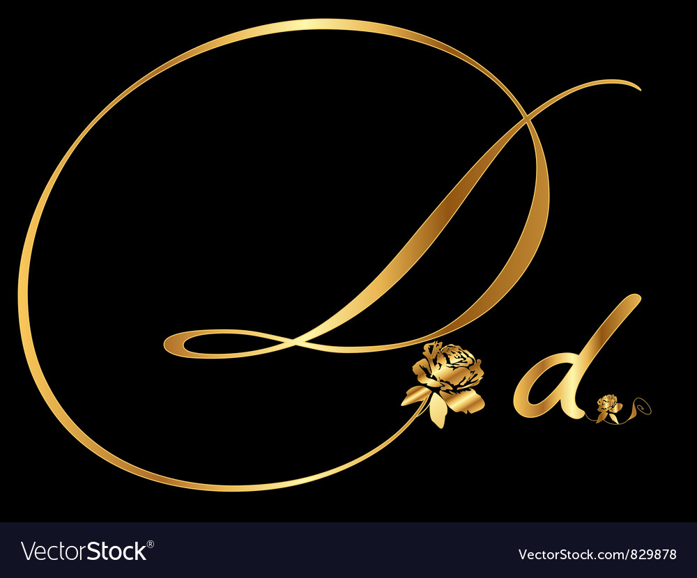 Gold letter d with roses vector | Price: 1 Credit (USD $1)
