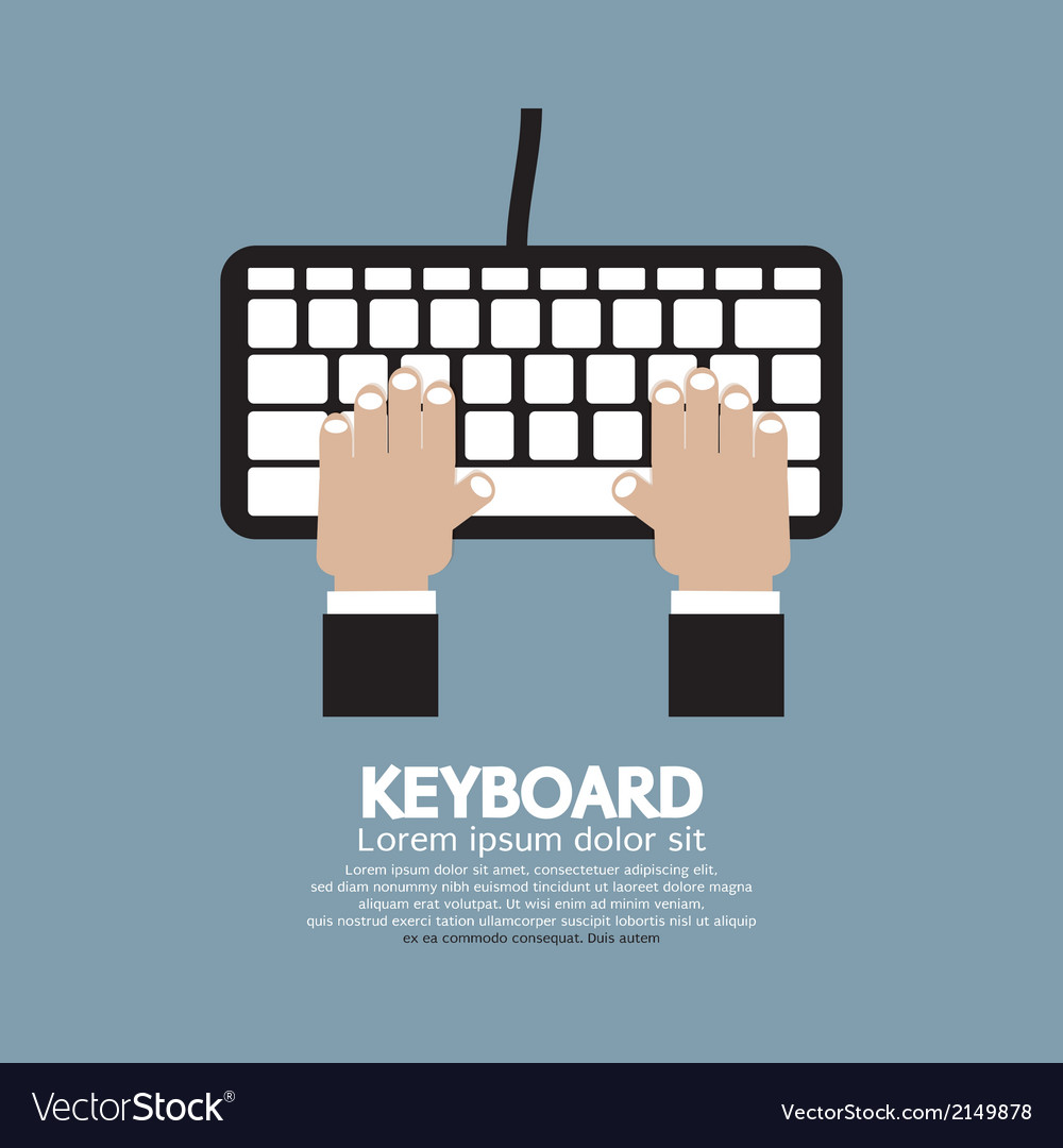 Hands typing keyboard vector | Price: 1 Credit (USD $1)