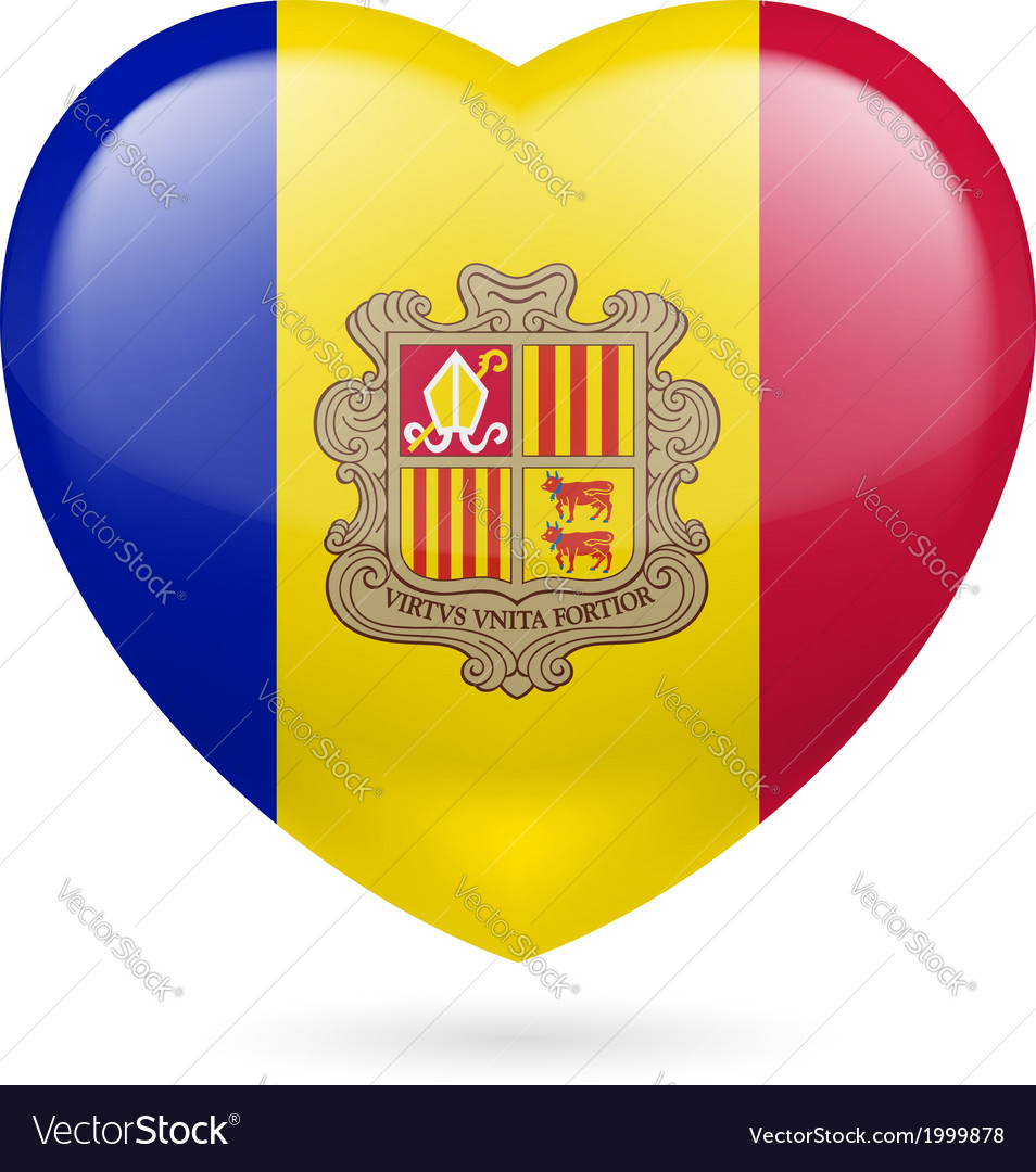 Heart icon of andorra vector | Price: 1 Credit (USD $1)