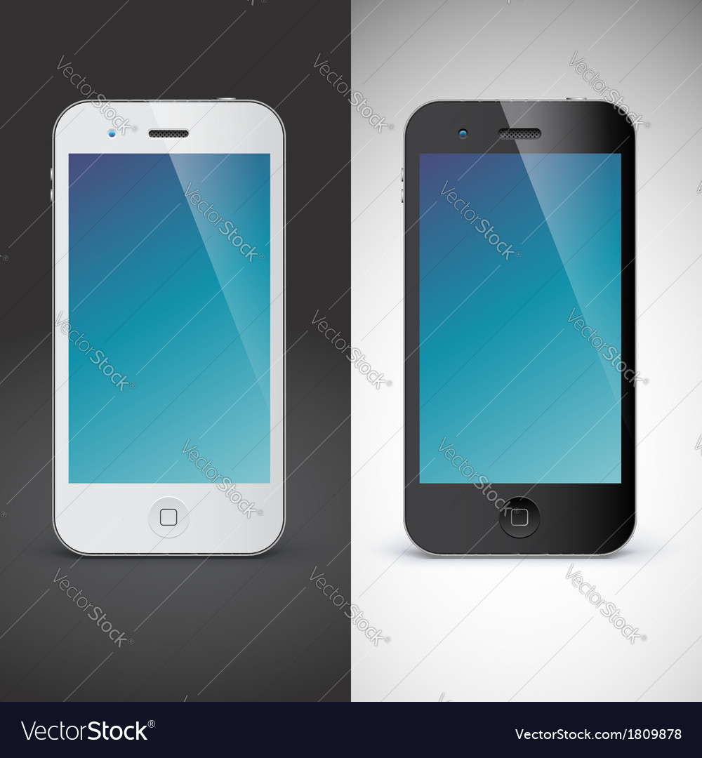 Mobile phone on black and white background vector | Price: 1 Credit (USD $1)