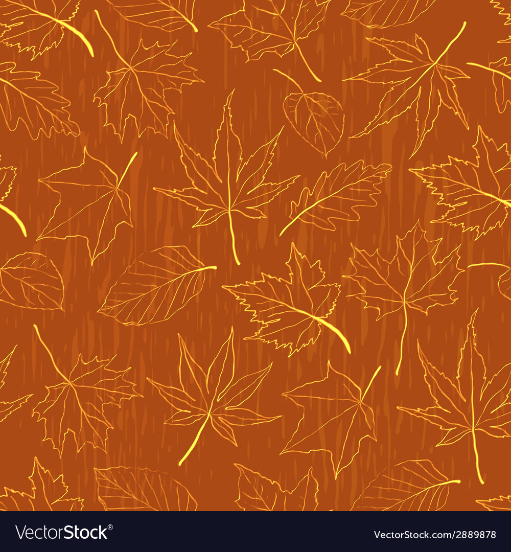 Seamless pattern autumn leaves vector | Price: 1 Credit (USD $1)