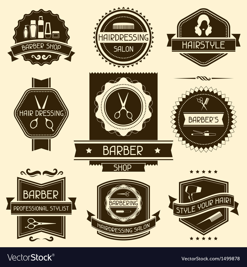 Set of barber shop badges in retro style vector | Price: 1 Credit (USD $1)