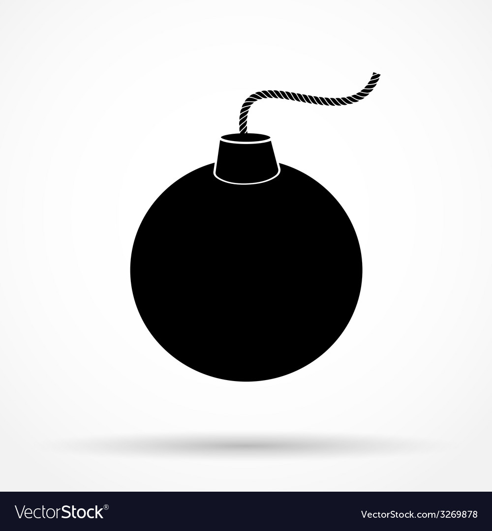 Silhouette simple symbol of black bomb and wick vector | Price: 1 Credit (USD $1)