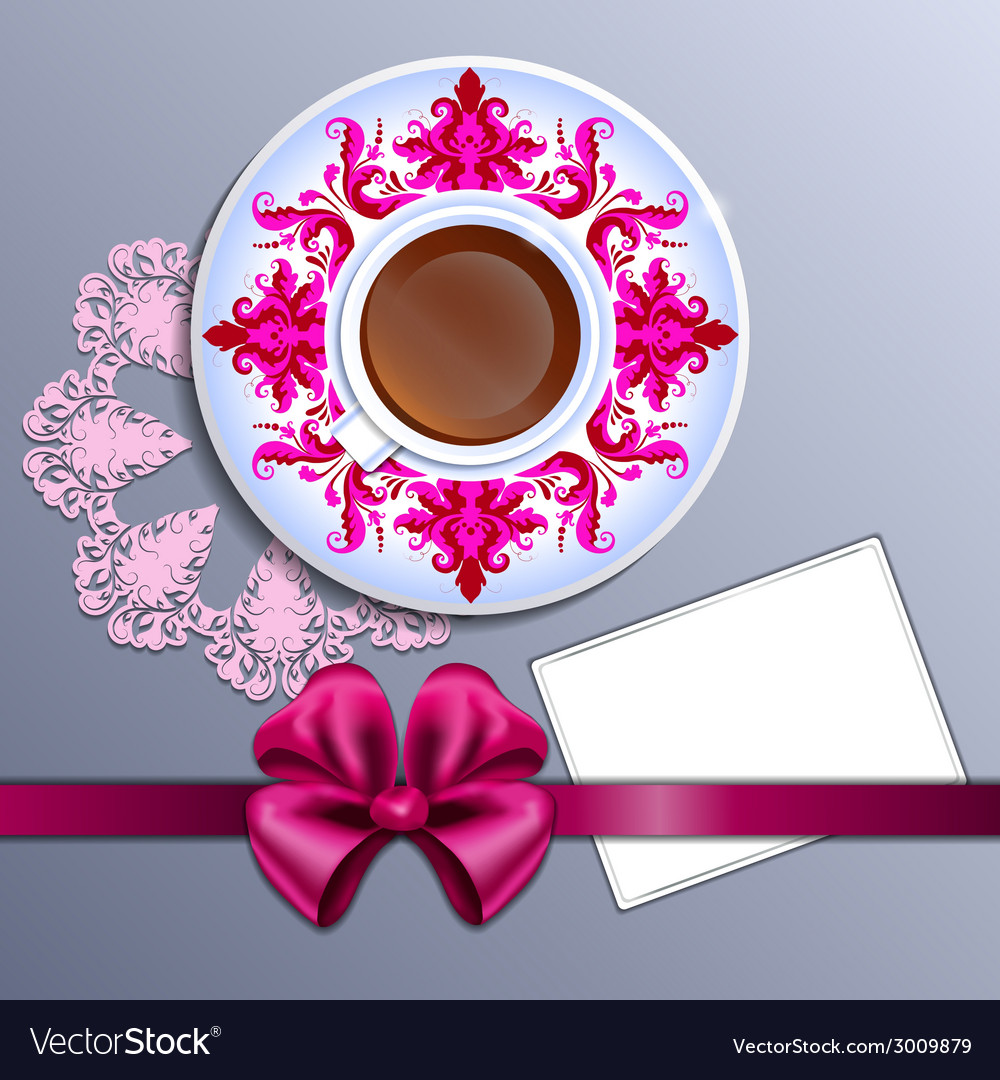 A cup of tea and card vector | Price: 1 Credit (USD $1)