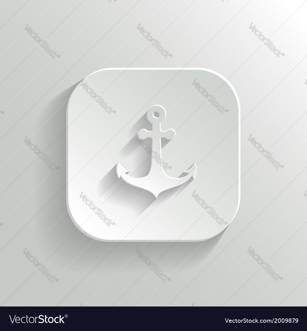 Anchor icon - white app button vector | Price: 1 Credit (USD $1)