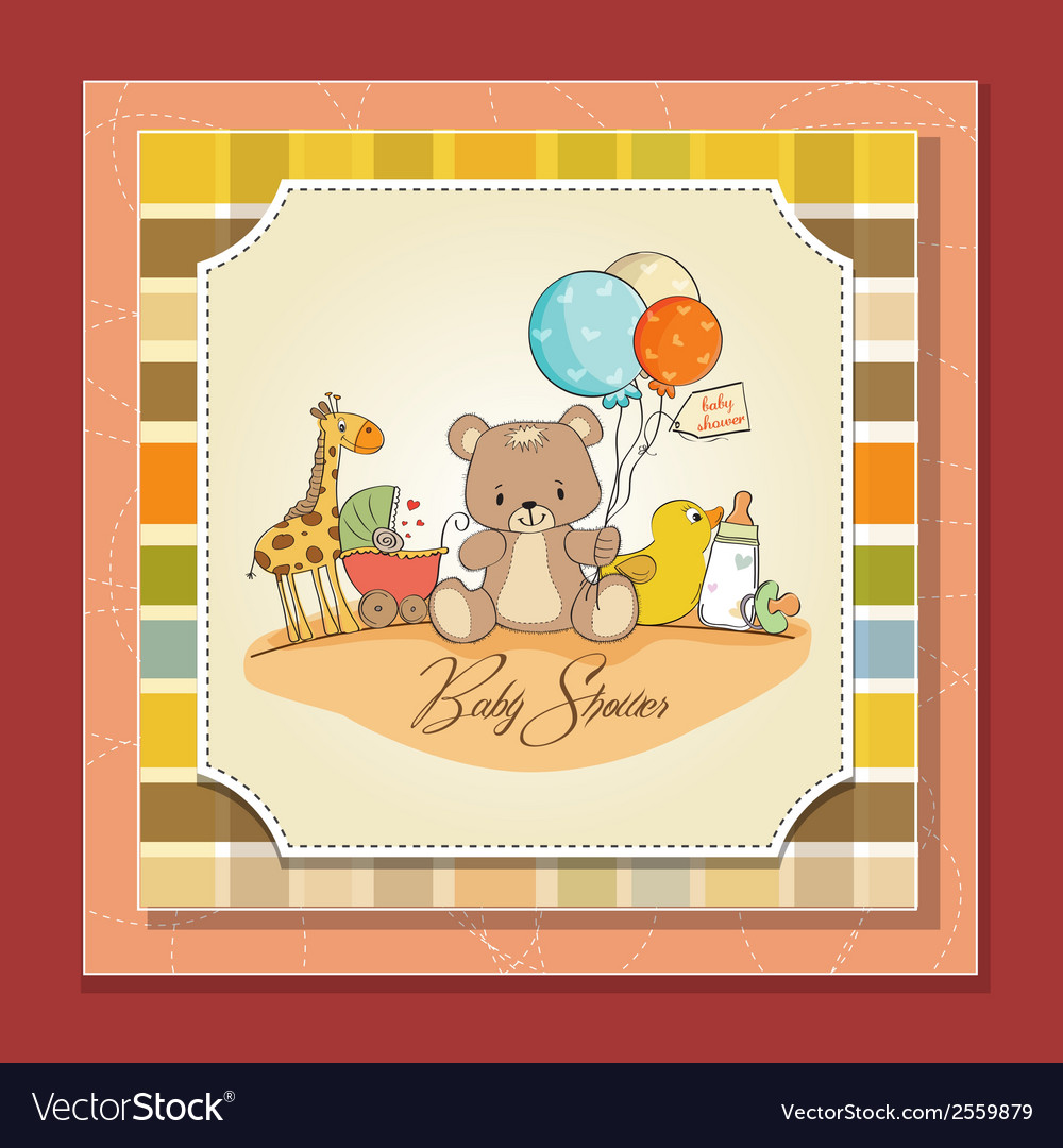 Baby shower card with toys vector   Price: 1 Credit (USD $1)