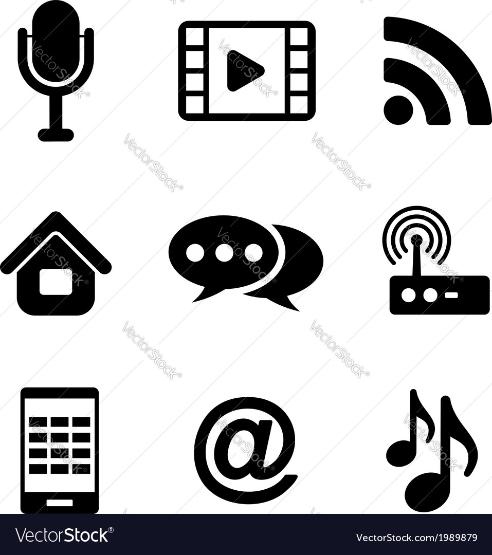 Communications and multimedia icons vector | Price: 1 Credit (USD $1)