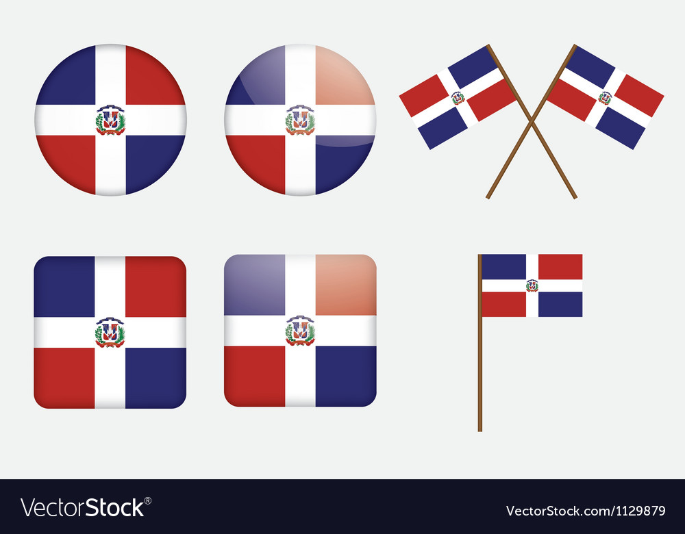 Dominican republic flag badges vector | Price: 1 Credit (USD $1)