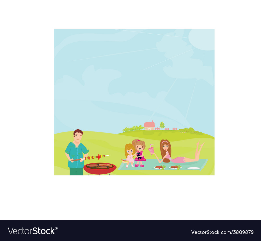 Family having a barbecue party vector | Price: 1 Credit (USD $1)