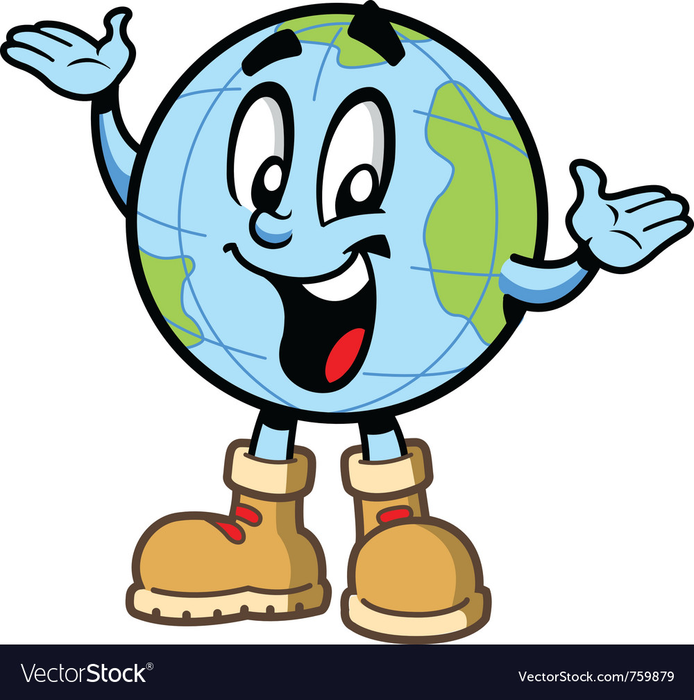 Happy smiling globe character vector | Price: 3 Credit (USD $3)