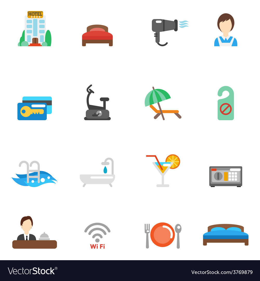 Hotel flat icon set vector | Price: 1 Credit (USD $1)