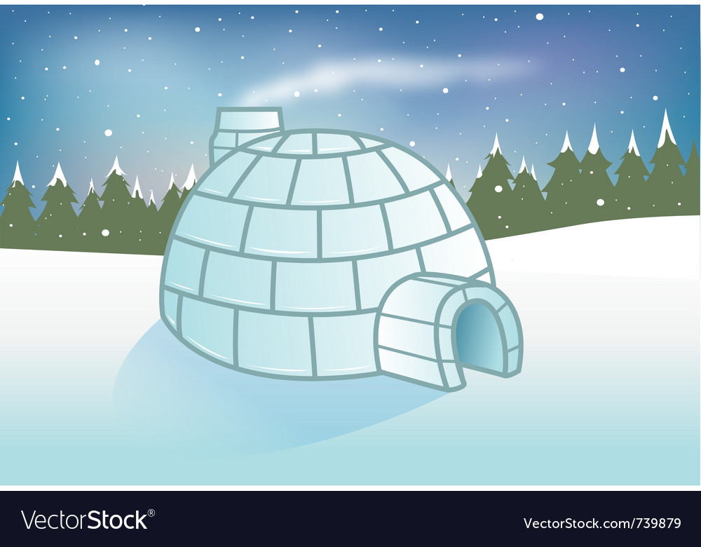 Igloo snowy background vector | Price: 1 Credit (USD $1)