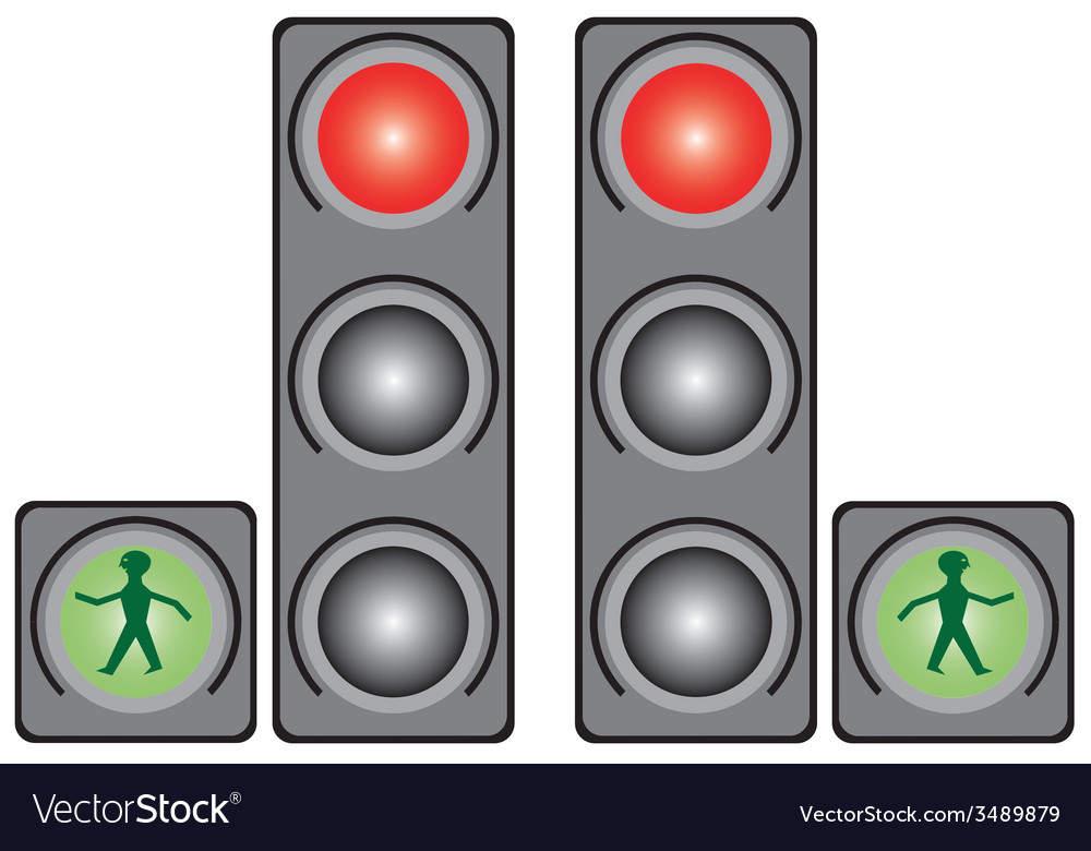 Traffic light in the city vector | Price: 1 Credit (USD $1)