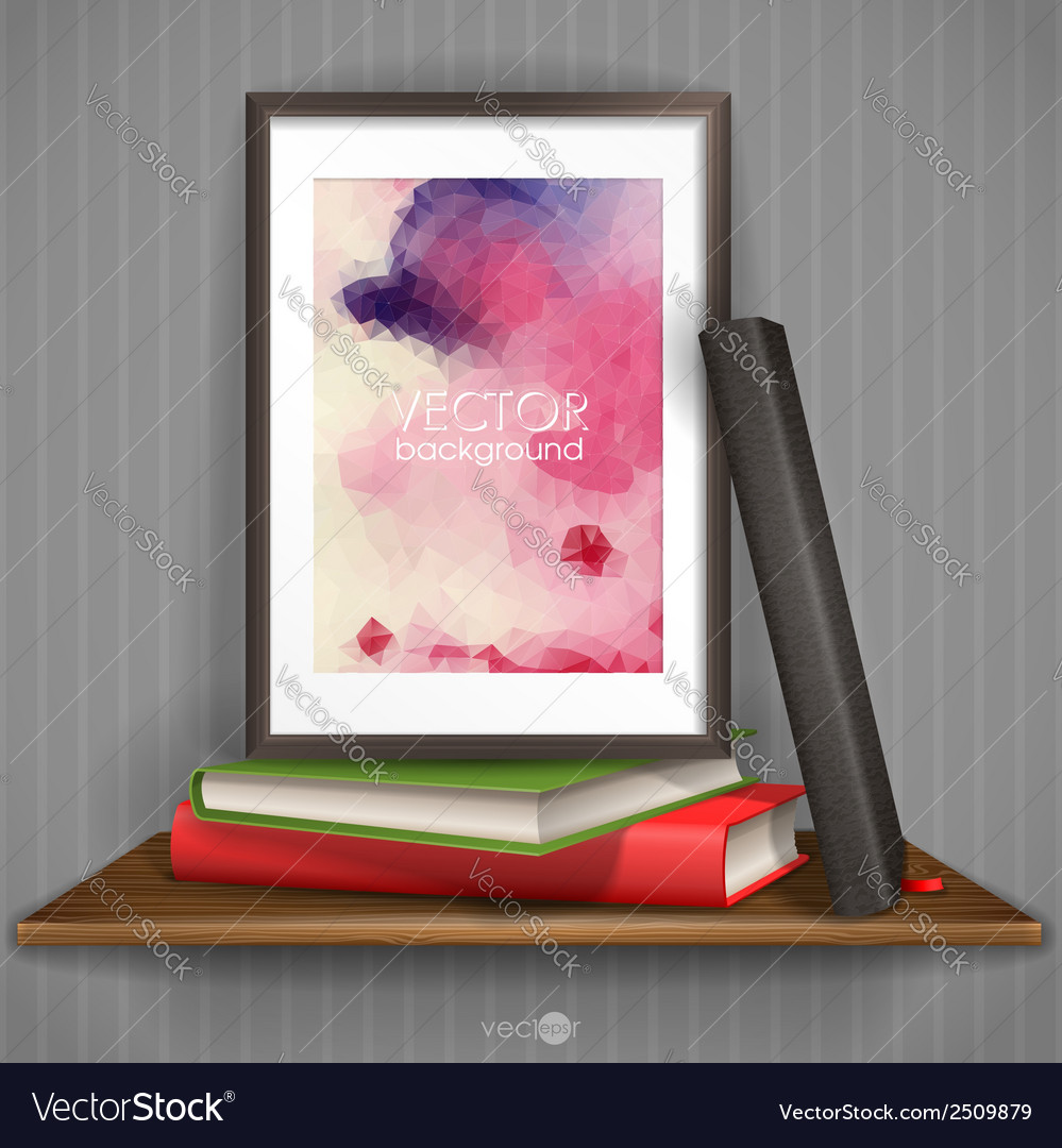 Wood shelf with photo frame vector | Price: 1 Credit (USD $1)