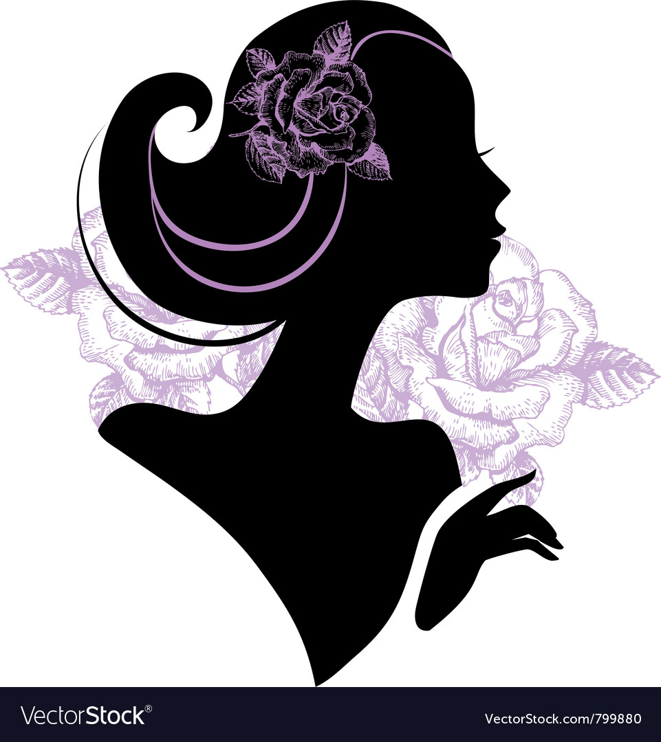 Beautiful woman silhouette vector | Price: 1 Credit (USD $1)