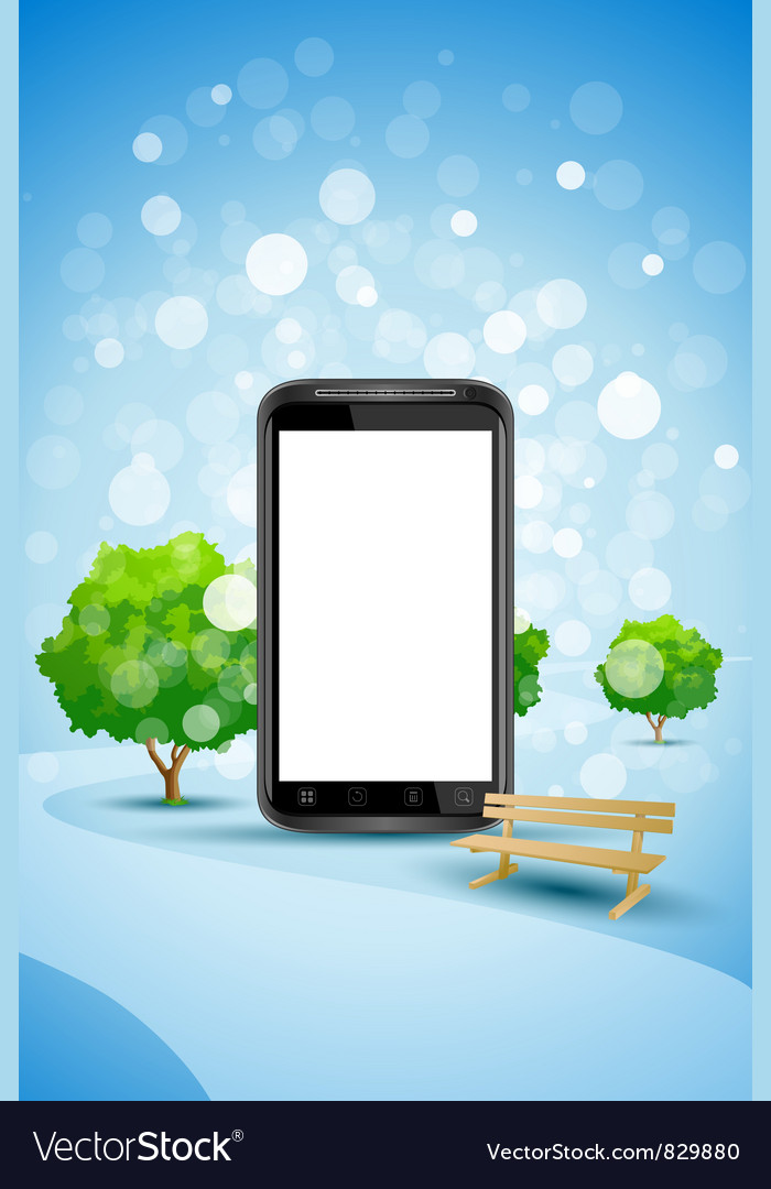 Blue background with empty mobile phone vector | Price: 3 Credit (USD $3)