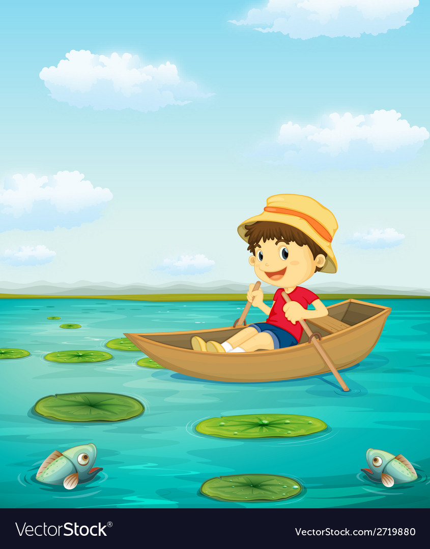 Boy on boat vector | Price: 1 Credit (USD $1)