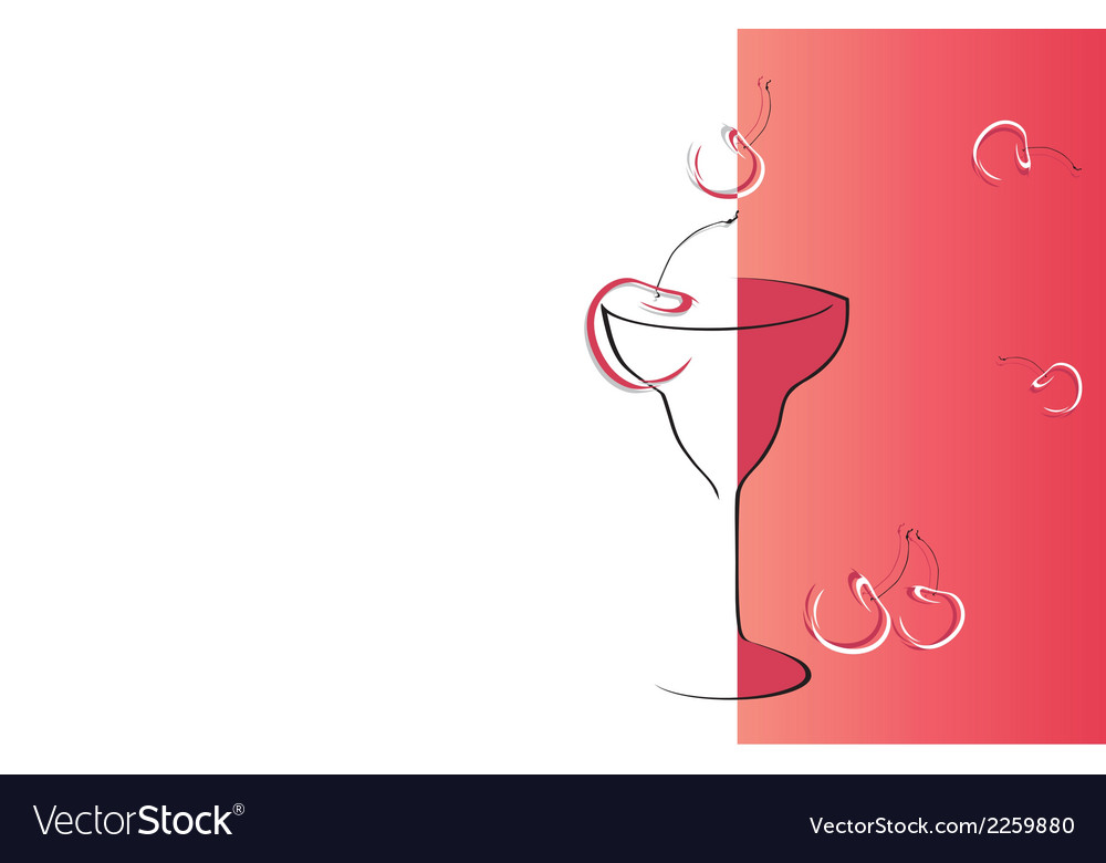 Drink cherry red card vector | Price: 1 Credit (USD $1)