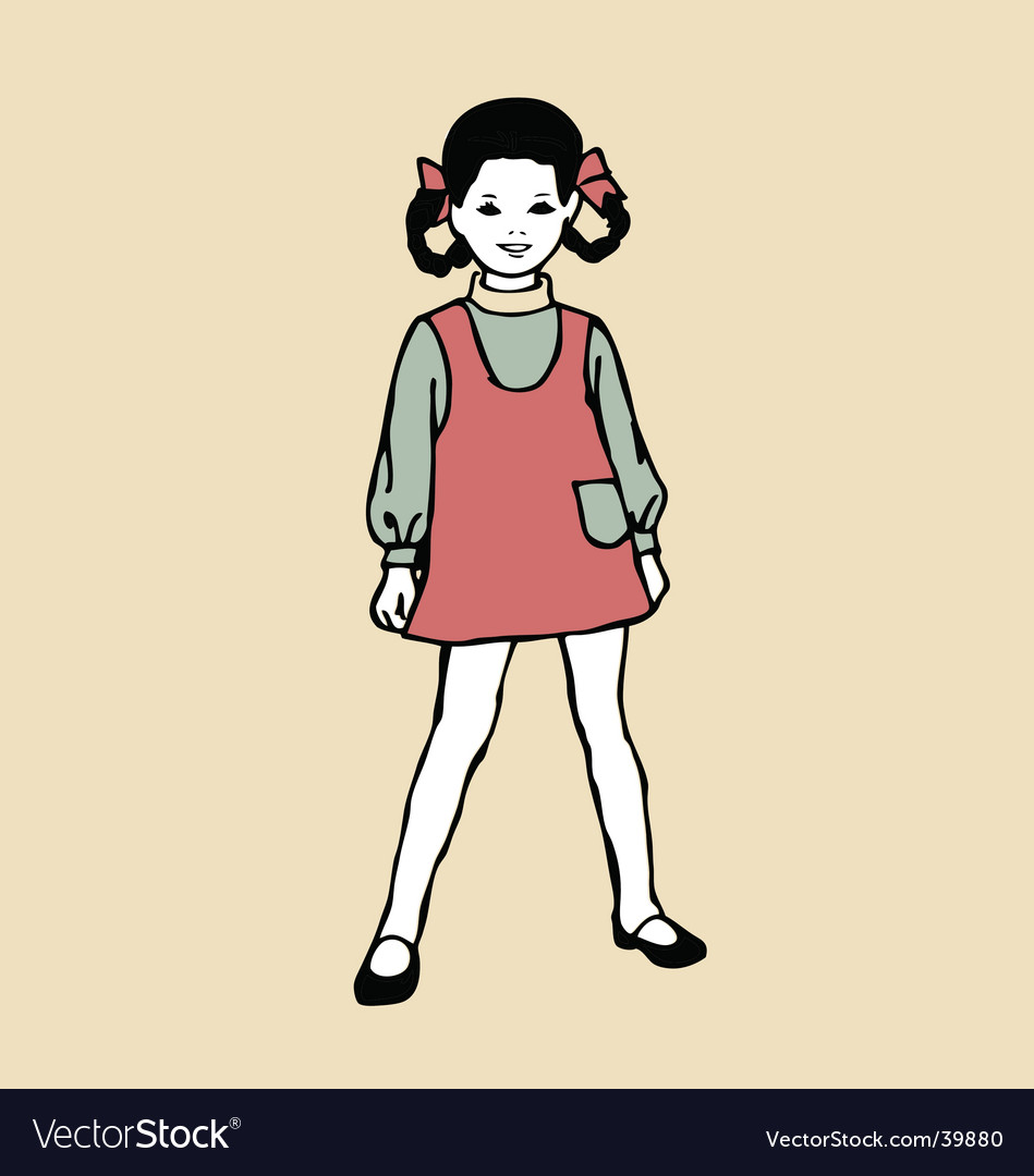 Girl screen print style illustration vector | Price: 1 Credit (USD $1)