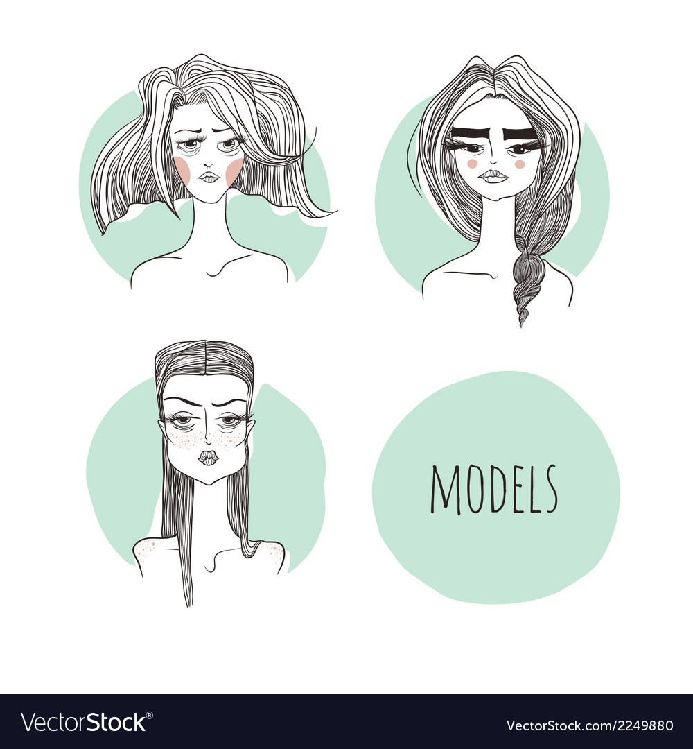 Models on a mint background vector | Price: 1 Credit (USD $1)