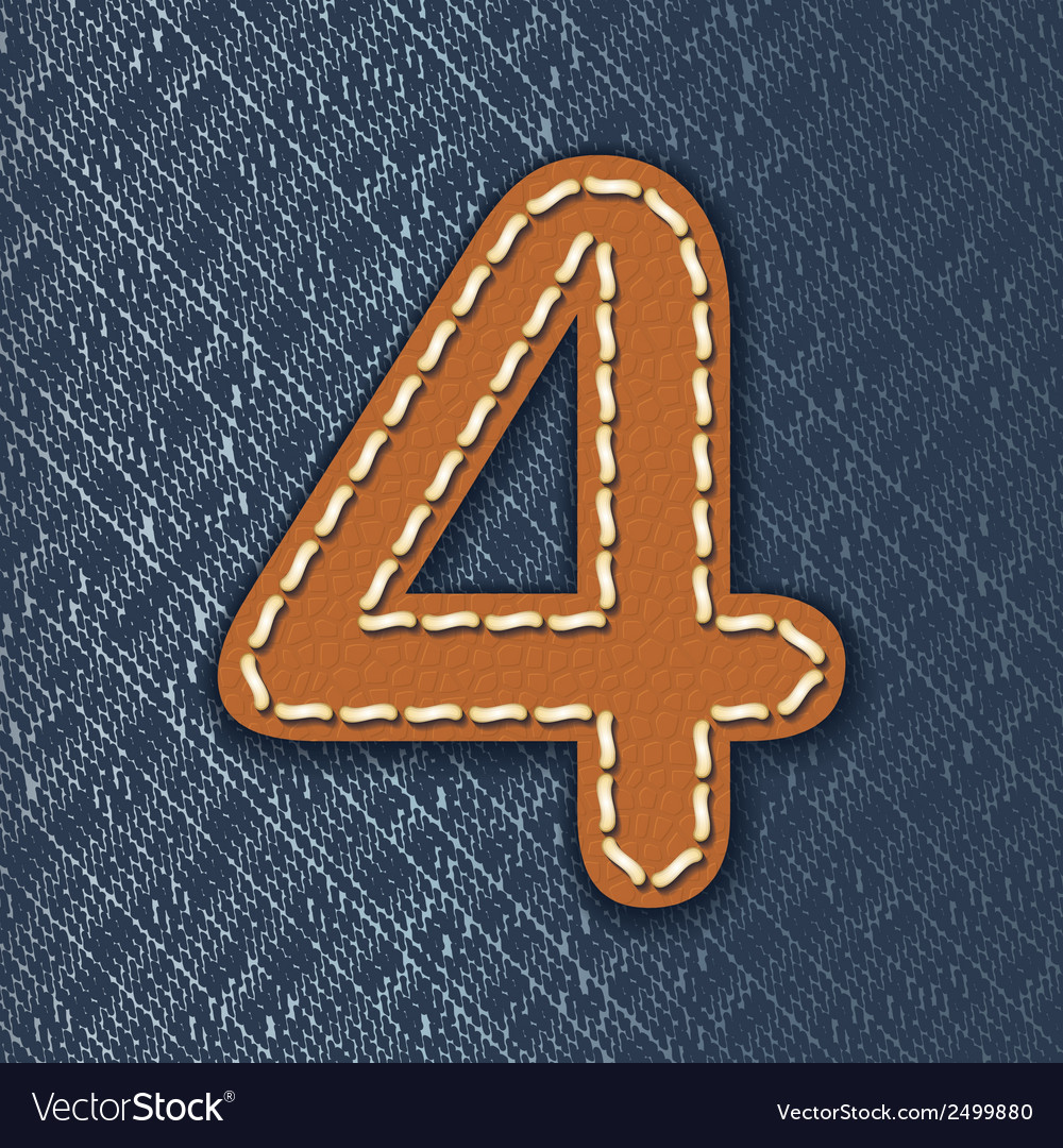 Number 4 made from leather on jeans background vector | Price: 1 Credit (USD $1)