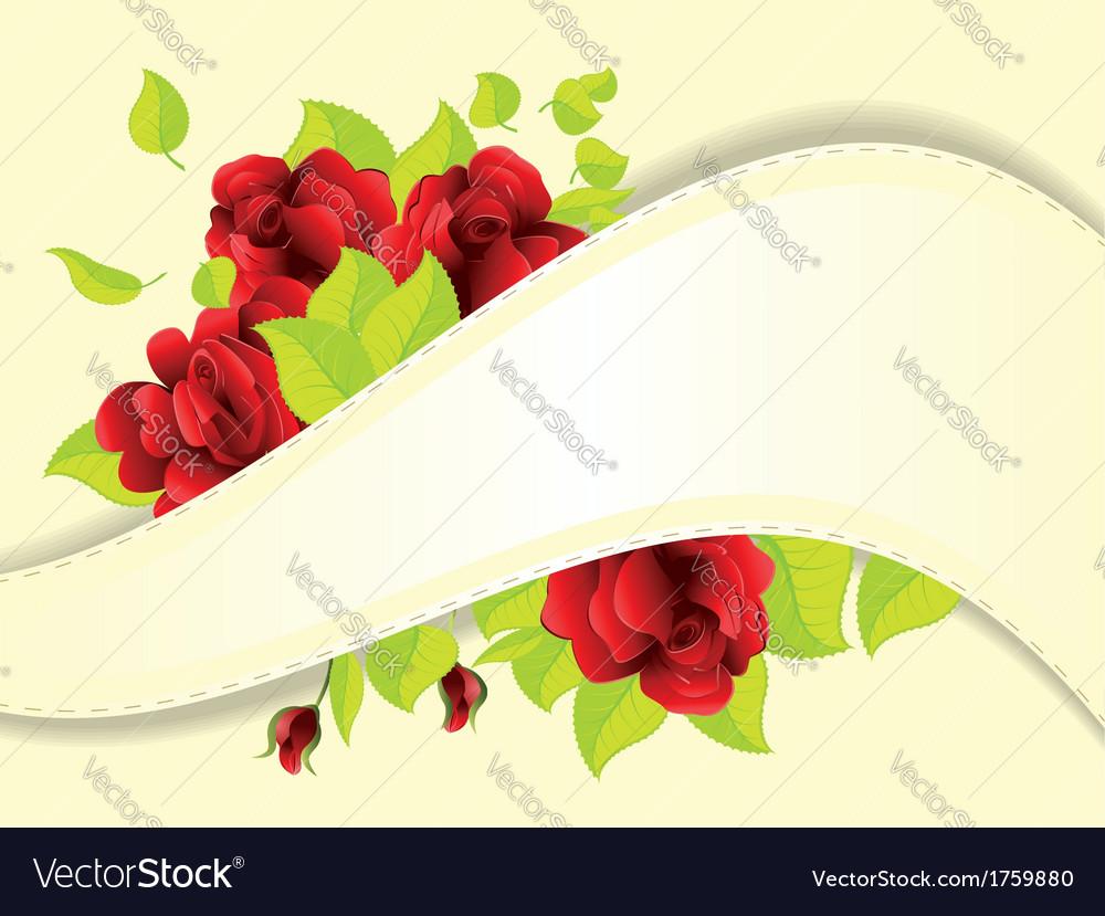 Red roses and ribbon vector | Price: 1 Credit (USD $1)