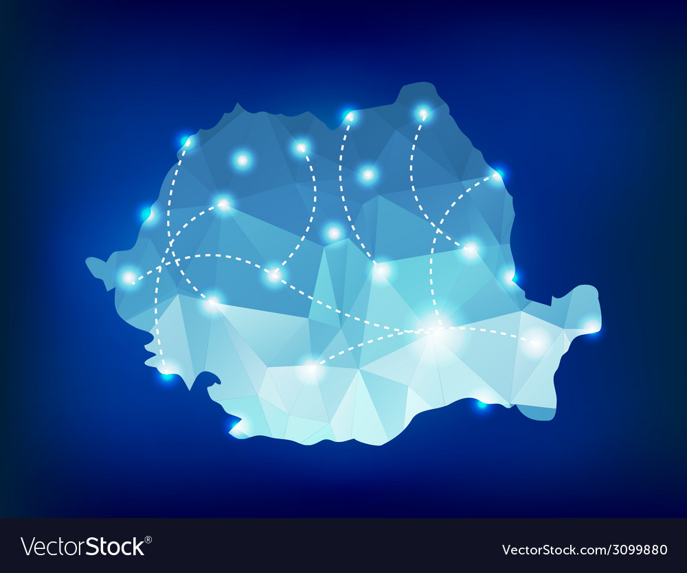 Romania country map polygonal with spot lights vector | Price: 1 Credit (USD $1)