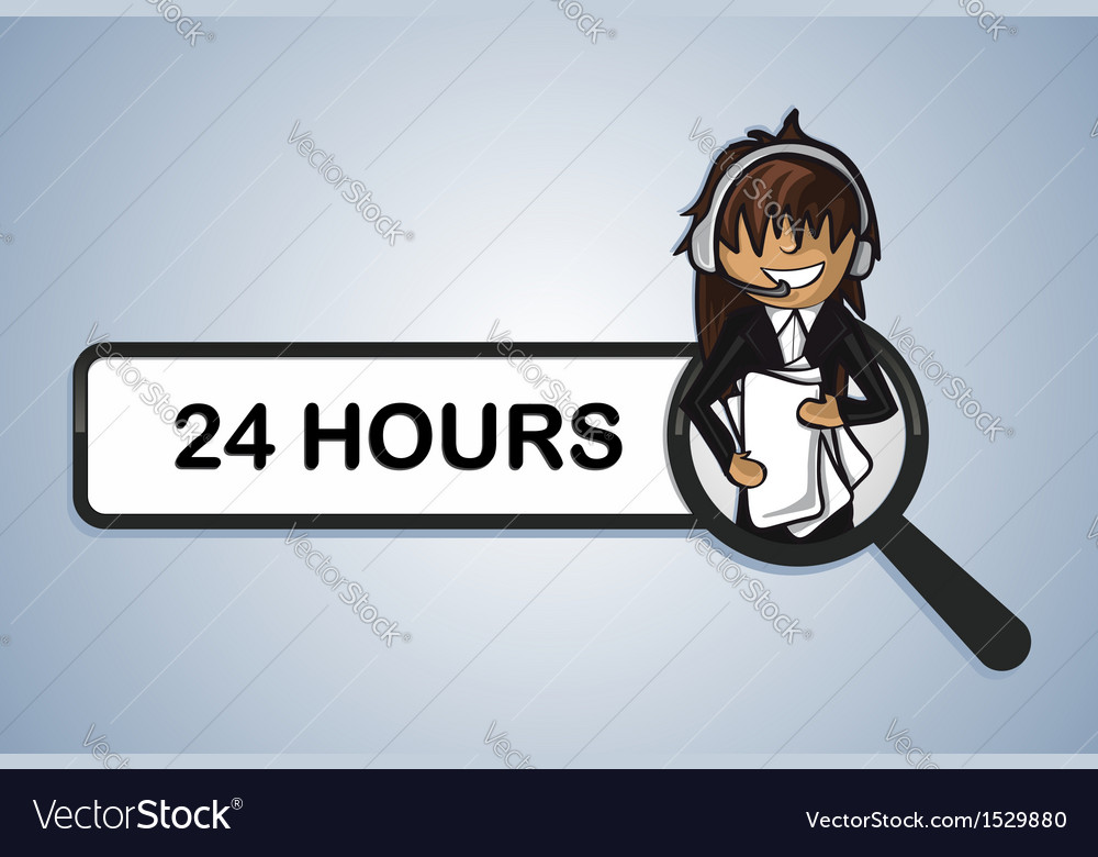 Service search 24 hours center girl cartoon vector | Price: 1 Credit (USD $1)