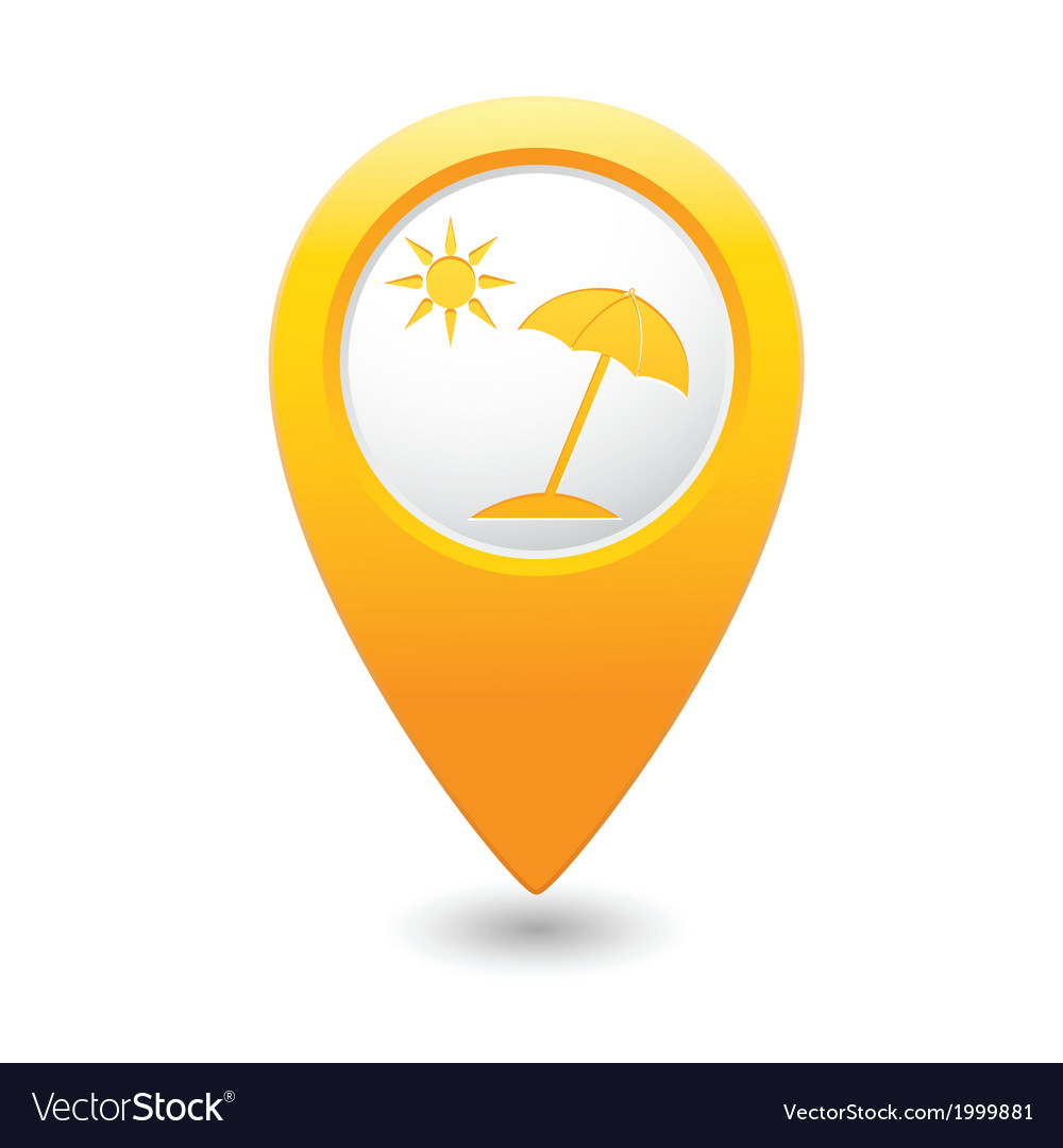 Beach icon yellow map pointer vector | Price: 1 Credit (USD $1)