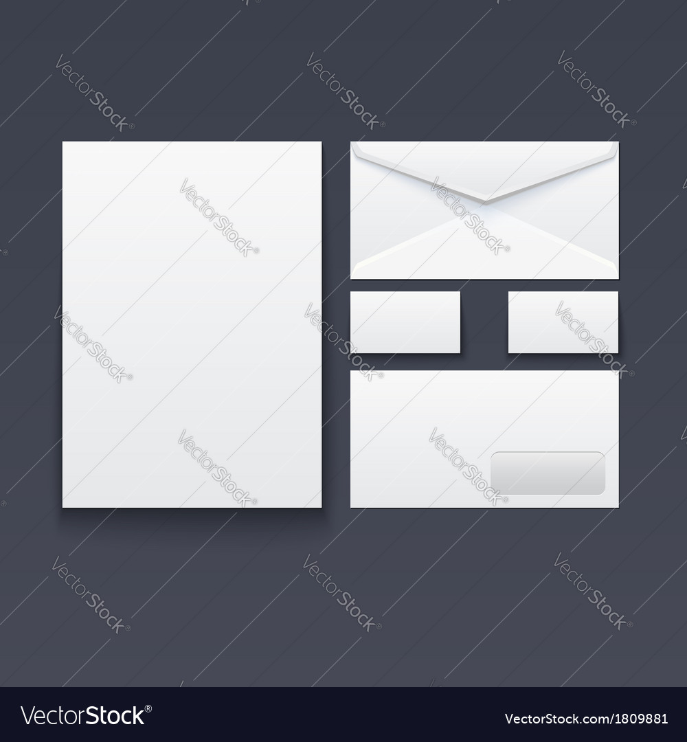 Blank envelope business card and paper vector | Price: 1 Credit (USD $1)