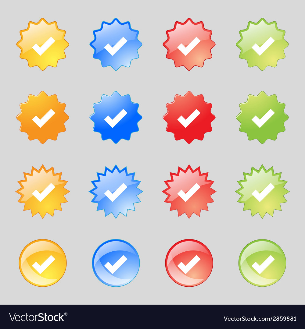 Check mark sign icon  confirm approved symbol set vector | Price: 1 Credit (USD $1)