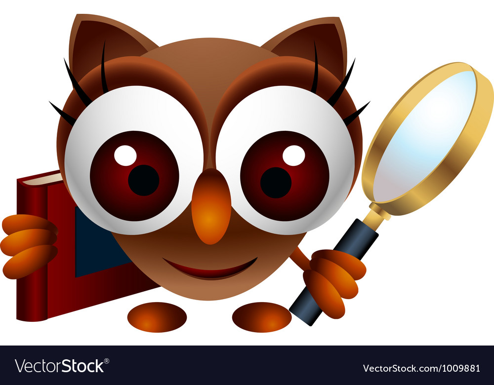 Cute owl with magnifying glass vector | Price: 3 Credit (USD $3)