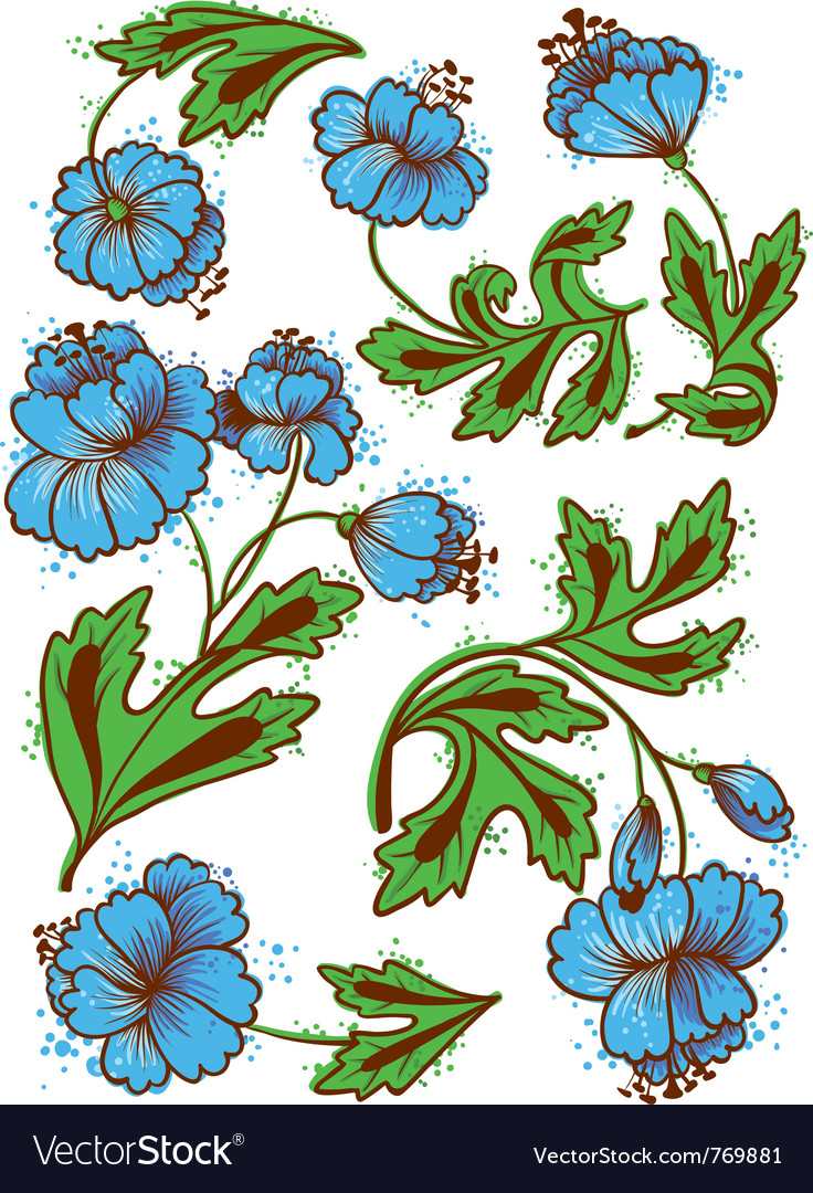 Floral abstract set vector | Price: 1 Credit (USD $1)