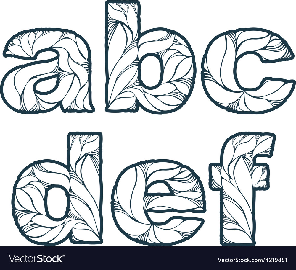 Herbal style decorative beautiful font typeset vector | Price: 1 Credit (USD $1)