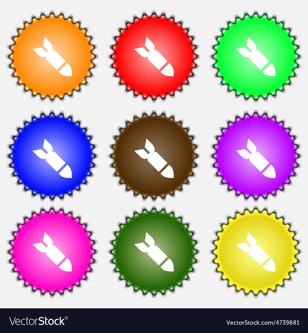 Missilerocket weapon icon sign a set of nine vector | Price: 1 Credit (USD $1)