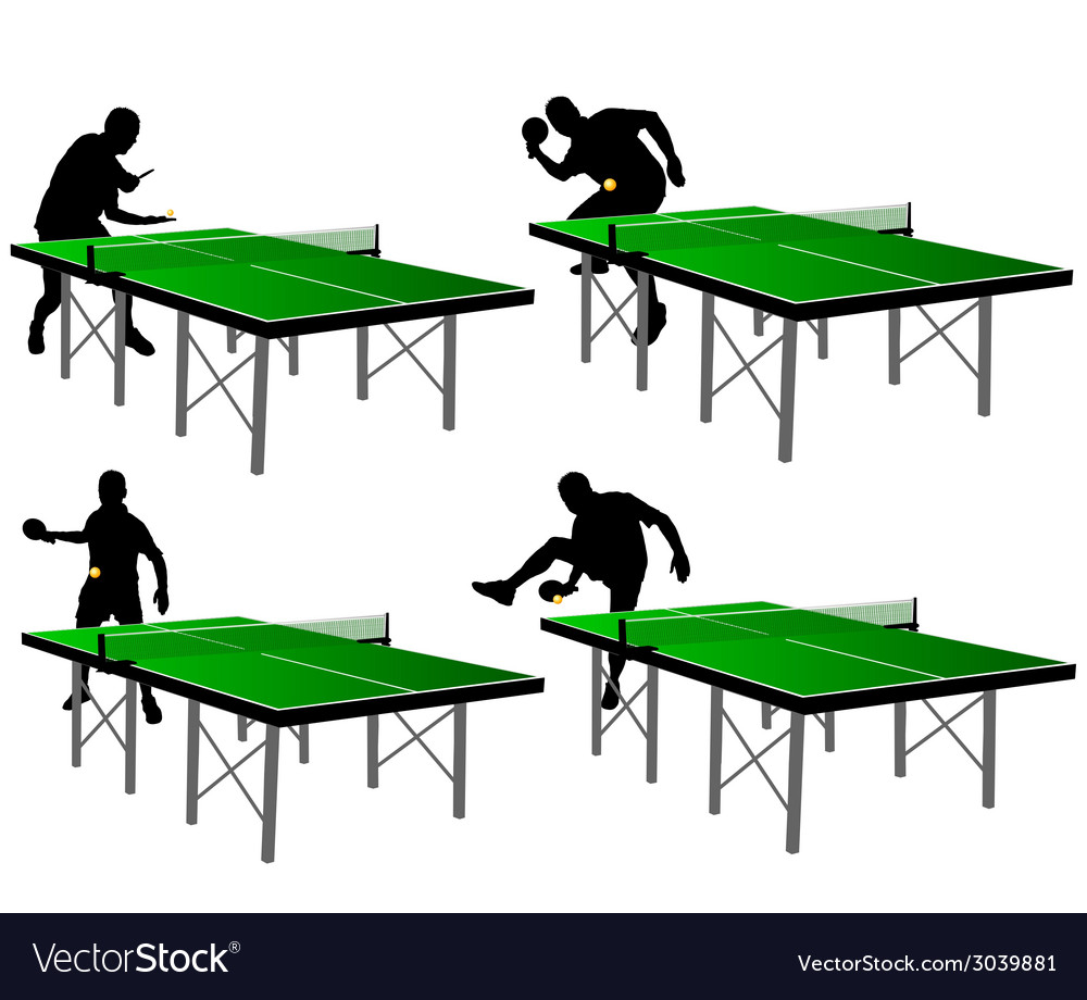 Ping pong players with green table vector | Price: 1 Credit (USD $1)