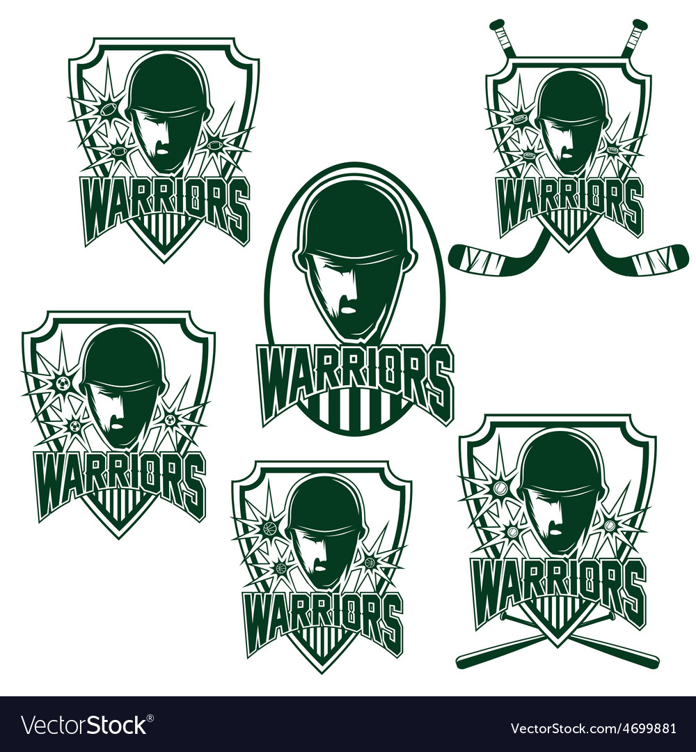 Set of vintage sports clubs with warrior face vector | Price: 1 Credit (USD $1)